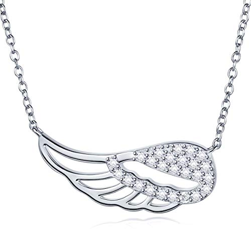925 Sterling Silver CZ Pave Guardian Angel Wing Feather Pendant Necklace White Gold Plated Jewelry Gift for Women Girls 18 inch Chain