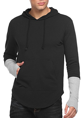 Coofandy Men's Running Yoga Slim Hoodie Lightweight Pullover Cotton Sweatshirt T Shirt,Black,Large