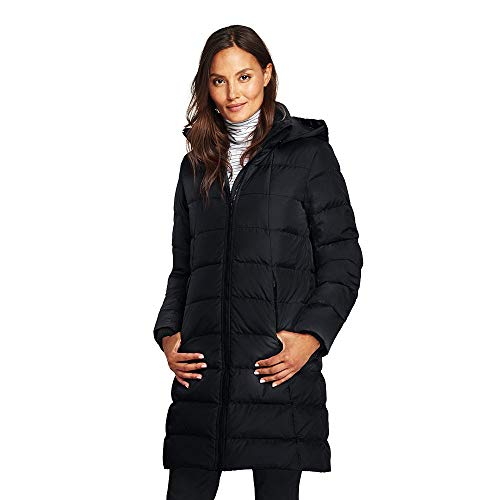 Lands' End Women's Winter Long Down Coat, XS, Black