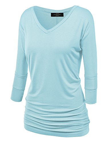Aqua Knit Top - Made By Johnny WT1036 Womens V Neck 3/4 Sleeve Dolman Top with Side Shirring XXXL Aqua