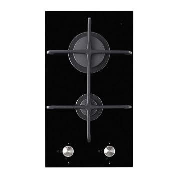 IKEA MOJLIG - vitrocerámica 2 quemador de gas Domino, negro - 29 cm: Amazon.es: Hogar
