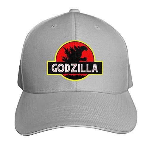 God-Zilla Adjustable Baseball Cap, Old Sandwich Cap, Pointed Dad Cap Gray