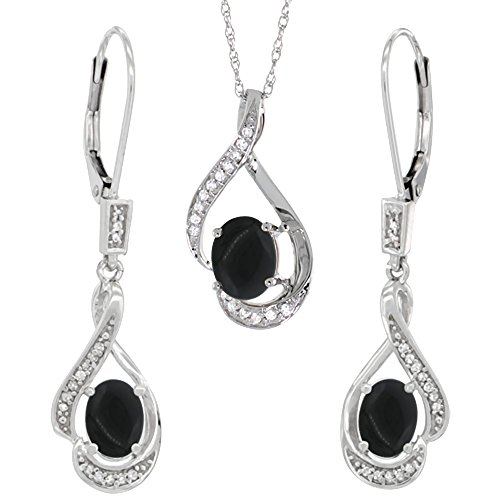 14K White Gold Diamond Natural Black Onyx Lever Back Earrings & Pendant Set Oval 7x5mm by Silver City Jewelry