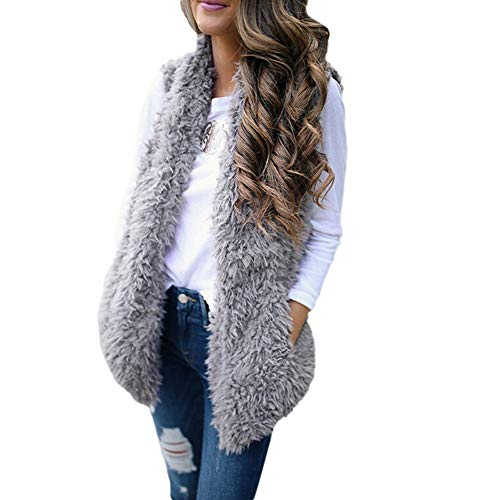 TOTOD Womens Fleece Open Front Coat, Outerwear Waistcoat Faux Fur Solid Cardigan Calsual Jacket Sleeveless Vest Coat (Z- Gray, L)