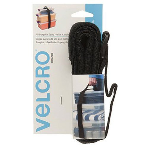 Ideal for Carrying Bulky Items Cinches tight for Secure Hold VELCRO Brand All-Purpose Strap with Handle Load rated for 75 lbs 6ft x 2in Black