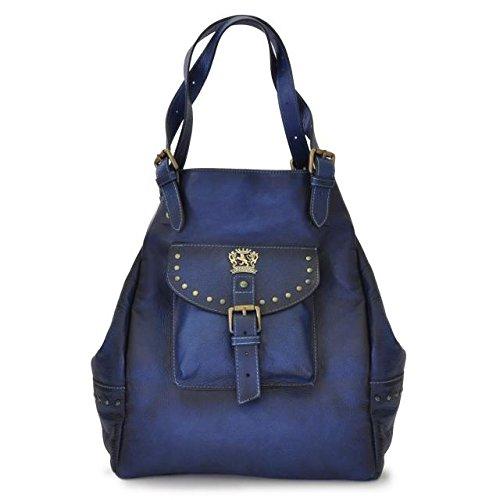 Pratesi Womens Italian Leather Woman Bag Talamone in Cow Leather in Blue
