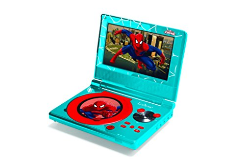 """Lexibook Marvel Spider-Man Portable DVD Player, 7"""" LCD rotatable screen, Parental control function, stereo speakers (2x1W), Blue/red, - Kids Player Spiderman For Cd"""