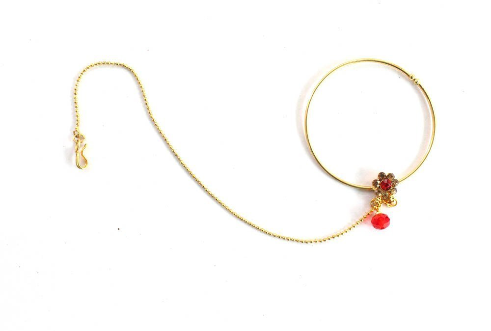 Gold Red Crystal Bollywood Ethnic Bridal Wedding Nose Ring Chain/Nose to Ear Nath