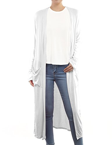 (BH B.I.L.Y USA Women's Side Split Front Pockets Open Front Long Cardigan White XX-Large )