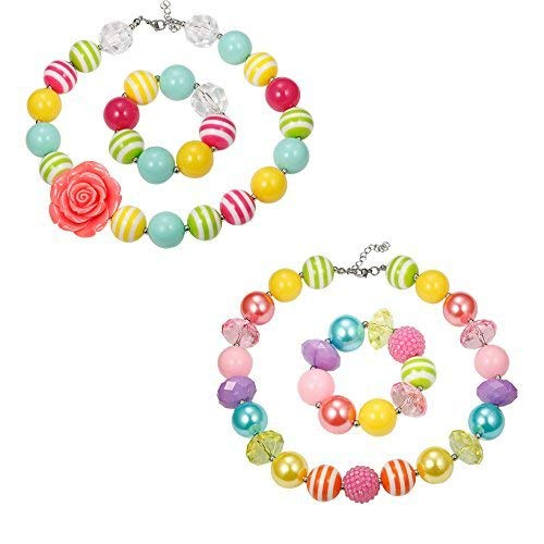 Finrezio 2 Pairs Cute Chunky Bubblegum Necklace and Bracelet set for Girls (Style A: 2 Pairs for Your Princess)