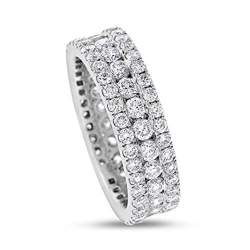 2.81 Ct. Natural Diamond 3 Row Eternity Wedding Band Solid 18k White Gold