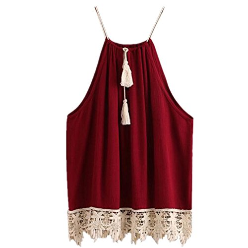 Big Promotion! Women Shirts WEUIE Women Lace Trimmed Tasselled Drawstring Blouse Tank Tops T shirt (S, Wine Red)