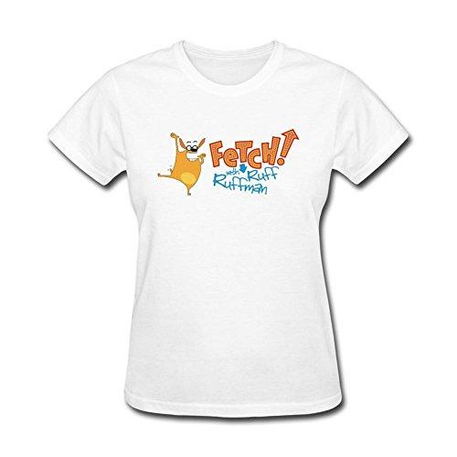 Kittyer Women's FETCH! With Ruff Ruffman Design Cotton T Shirt M