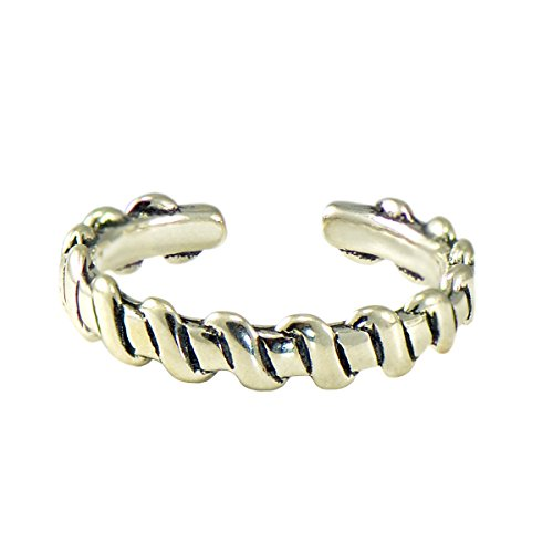 Paialco 925 Sterling Silver Weaved Pattern Pinky Ring Toe Band 3mm ()