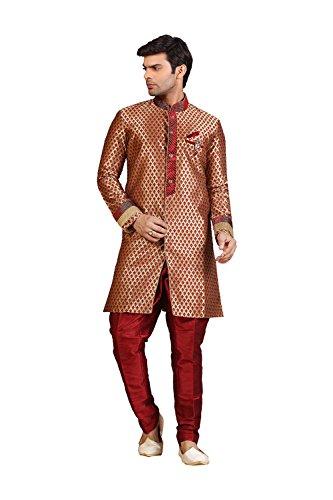 Da Facioun Mens Indo Western Wedding Golden/Maroon Designer Partywear Traditiona by Da Facioun