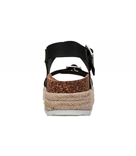Sandalia yute Suela Altura cm en 5 5 color ancha hebilla plataforma suela Negro natural en tiras las revestida Detalle SYxrSwqv