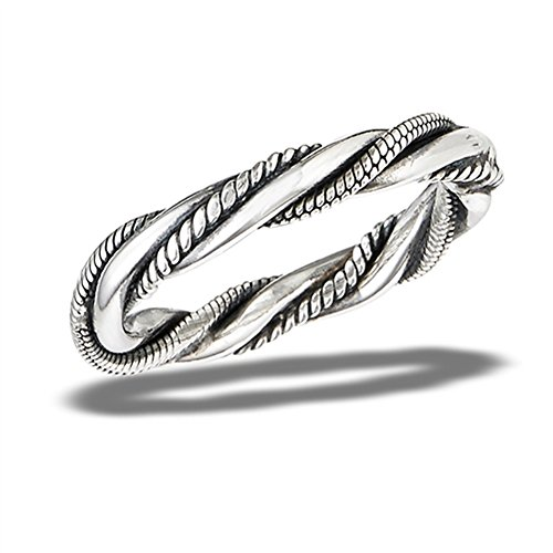 [Oxidized Bali Twisted Rope Stackable Knot Ring Sterling Silver Band Size 8 (VOL10477-8)] (Twisted Stackable Sterling Silver Ring)