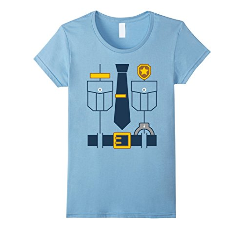 Womens Funny Police Officer Cop Uniform Costume T-shirt For Kids Large Baby Blue - Female Cop Uniform
