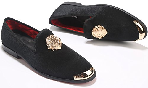 Elanroman Hombres Mocasines De Terciopelo Zapato Con Zapatillas De Placa De Oro Mocasines Y Slip-ons Fumadores Zapatillas Zapatos De Holgazán Para Hombres