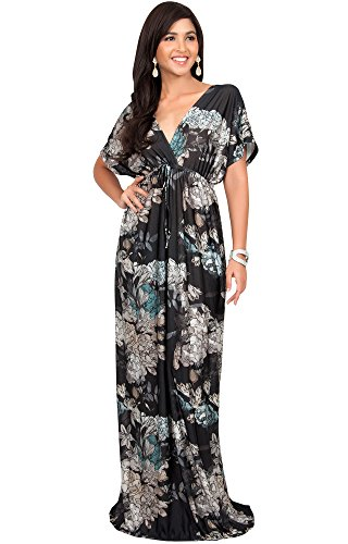 KOH KOH Plus Size Women Long Kimono Sleeve Short Sleeves V-Neck Vintage Floral Print Summer Hawaiian Casual Cocktail Sundress Sun Gown Gowns Maxi Dresses, Black XL (V-neck Kimono)