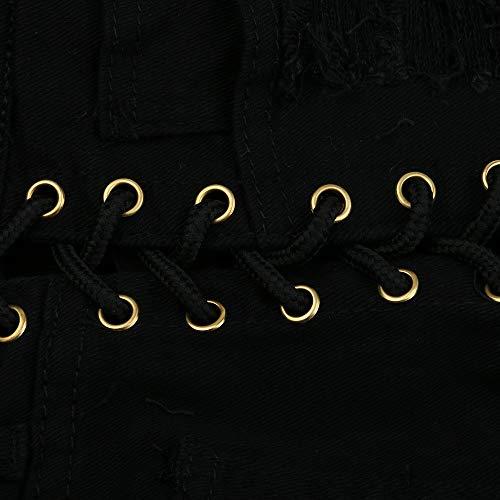 Moda Cintura Negro Calientes Destruido Mujer Npradla Casual Mezclilla Vaqueros Tendencia Alta De Jeans Cortos Rasgados Agujero xwAgOqgF0