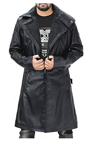 Fur Lapel Officer K Black Leather Gosling Belted Closure Blade Trench Runner Coat