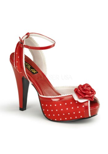 Polka Dot Ankle Strap (Pleaser Women's Bettie-06/R/SA Ankle-Strap Sandal,Red,10 M US)