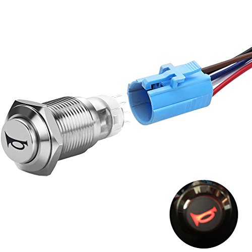 Quentacy 12V LED Car Motorcycle Boat Speaker Horn Button Momentary Pushbutton Switch Waterproof Stainless Steel Toggle Switch 16mm with Pigtail Wire Socket Illuminated Red Light