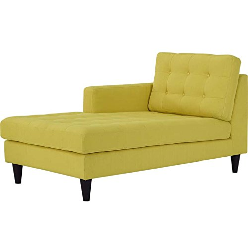 Modway Empress Mid-Century Modern Upholstered Fabric Left-Arm Chaise Lounge In Sunny (Chairs Modern Lounge Chaise)