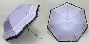 ZETE portable Sun Umbrella Parasol Quadruple Folding Sun/Rain Windproof Foldable Umbrella UPF 40+ (Bluish-purple)