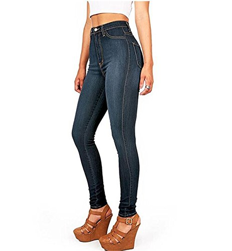 Taille Collant Casual Jeans fonc Printemps Pantalons Pants Bleu Denim Skinny Haute Sexy Femme Crayon Leggings HTT1gq