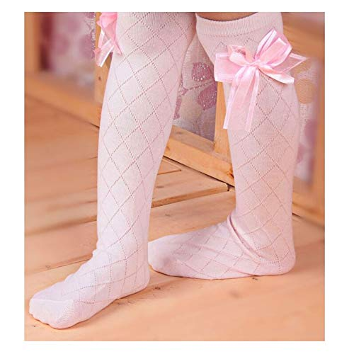 Loune Week Baby Knee high Socks Cute Childrens Knee High Socks for Toddlers Kids Baby Girls Solid Bow-Knot Cotton Princess Dress Ballet Long Sock Leg Warmer pink-45cm for 4 to 8 Year