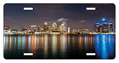 Amazon Com Ambesonne Detroit License Plate Modern