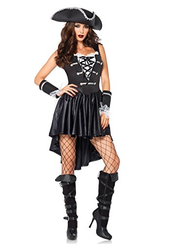 [Leg Avenue Women's 3 Piece Captain Black Heart Pirate Costume, Black/White, X-Large] (Halloween Pirate Woman Costumes)