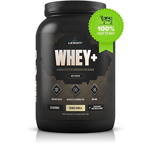 Legion Whey+ Vanilla Whey Isolate Protein Powder from Grass Fed Cows - Low Carb, Low Calorie, Non-GMO, Lactose Free, Gluten Free, Sugar Free. Great For Weight Loss & Bodybuilding, 30 Servings.