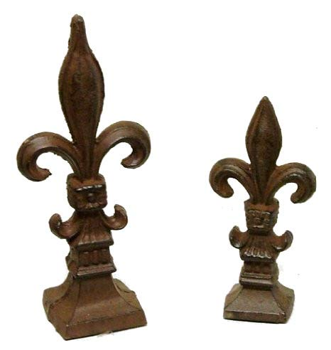 2 pc French Fleur De Lis Lys Finial Large and Small Cast Iron Decor