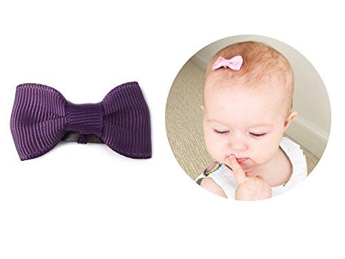 Baby Wisp Infant Mini Latch Wisp Clips Grosgrain Tuxedo Hair Bows Baby Girls Newborn (Midnight Mauve)