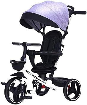 GPWDSN Pedales De Niños En Bicicleta, Triciclo Plegable Rotación Libre De La Instalación De Seguridad 1/5 Años De Edad Portátil Y Plegable De Seguridad Walking Trikes (Color: Azul)