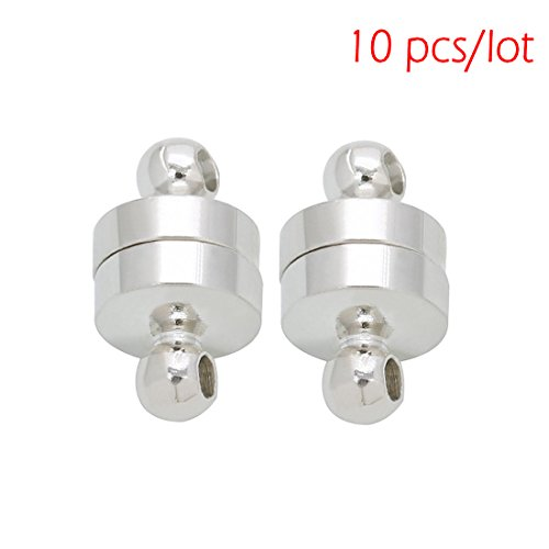Linsoir Beads 10 Sets Small Strong Magnetic Barrel Clasps Magnetic Fasteners Perfect for Arthritis Person 6mmX11mm Silver Finish (Magnet Jewelry Clasp)