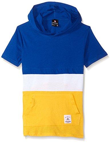 (Southpole Boys' Big Short Sleeve Hooded Fashion Tee (Age8-20), Royal/Color Block, Medium)