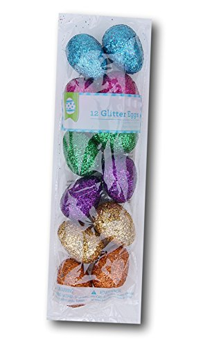 Colorful Plastic Glitter Easter Eggs : package of 12
