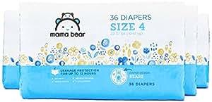 Amazon Brand - Mama BearDiapers Size 4, 144 Count, Bears Print (4 packs of 36)