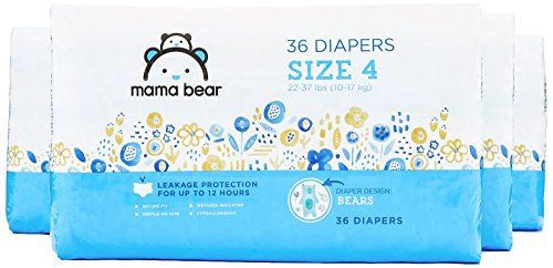 Mama Bear Diapers Size 4, 144 Count, Bears Print (4 packs of 36 diapers)