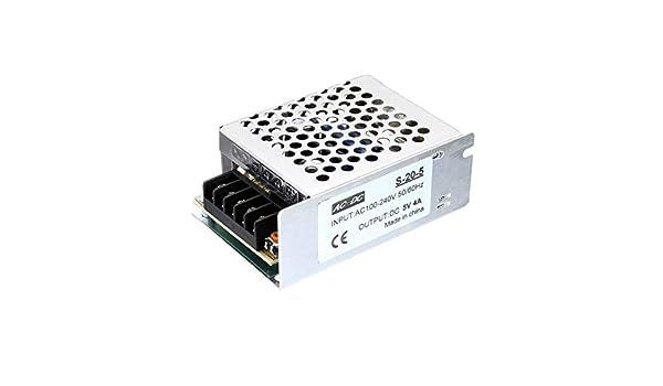 Monggood Interruptor Adaptador Fuente de Alimentación Estuche Metálico ca a Dc 5V 4A 20W Voltaje Transformador para Máquina Eléctrica: Amazon.es: Iluminación