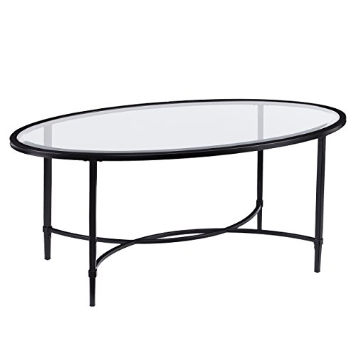 Furniture Hotspot - Oval Glass Coffee Table - Black - 45