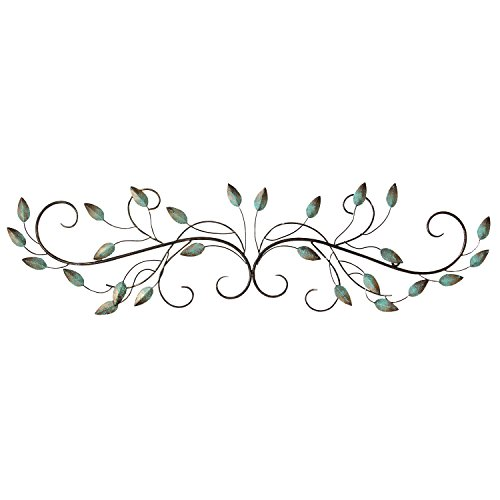 Stratton Home Decor SHD0065 Patina Scroll Leaf Wall Decor, 40.00 W X 1.00 D X 10.00 H, (Decors Metal Wall)