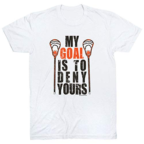 - My Goal Is To Deny Yours T-Shirt | Guys Lacrosse Tees by ChalkTalk SPORTS | White | Youth Medium