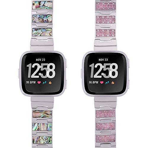 Reversible Versa Watch Band -Glitter/Shell - Stainless Steel - silver, rose gold or black finish