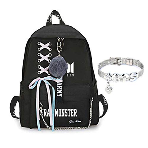Youyouchard BTS Bangtan Boys Love Yourself Answer BTS Backpack for Women Girls Canvas Backpack for Laptop Hiking Travel with A BTS Bracelet(RAP MONSTER)
