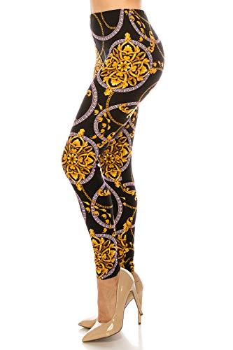 ShyCloset Premium Fashion Printed Leggings - Unique Pattern Brushed Buttery Soft Pants Regular/Plus Size (Plus Size (12-24), Gold Chain) ()